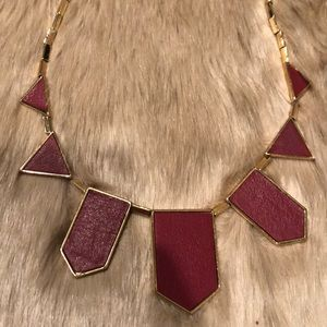 Maroon Red Geo Station Leather Gold Necklace